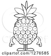 Clipart Of A Black And White Happy Pineapple Character Royalty Free Vector Illustration by Cory Thoman