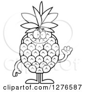 Clipart Of A Black And White Friendly Waving Pineapple Character Royalty Free Vector Illustration by Cory Thoman