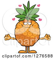 Clipart Of A Sweet Pineapple Character With Open Arms Royalty Free Vector Illustration by Cory Thoman