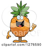 Clipart Of A Happy Pineapple Character With An Idea Royalty Free Vector Illustration by Cory Thoman