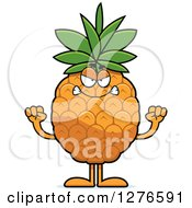 Clipart Of A Mad Pineapple Character Holding Up Fists Royalty Free Vector Illustration by Cory Thoman