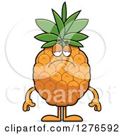 Clipart Of A Depressed Pineapple Character Royalty Free Vector Illustration by Cory Thoman