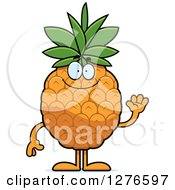 Clipart Of A Friendly Waving Pineapple Character Royalty Free Vector Illustration by Cory Thoman