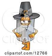 Clipart Picture Of A Garbage Can Mascot Cartoon Character Wearing A Pilgrim Hat On Thanksgiving