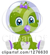 Clipart Of A Cute Baby Girl Alien Sucking On A Pacifier And Sitting In A Diaper Royalty Free Vector Illustration