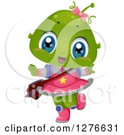 Clipart Of A Happy Alien School Girl Dancing Royalty Free Vector Illustration
