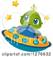 Clipart Of A Happy Cute Alien Boy Flying A UFO Royalty Free Vector Illustration