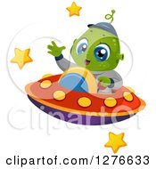 Clipart Of A Happy Cute Alien Boy Waving And Flying A UFO Royalty Free Vector Illustration