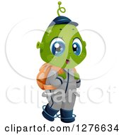 Clipart Of A Happy Student Alien Boy Wearing A Backpack Royalty Free Vector Illustration