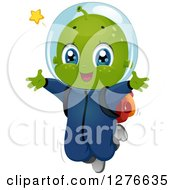 Clipart Of A Happy Alien Boy Jumping Royalty Free Vector Illustration