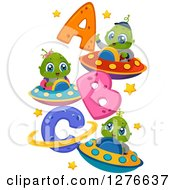 Clipart Of Happy Cute Alien Kida Flying UFOs By Abc Royalty Free Vector Illustration