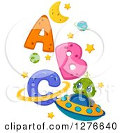 Clipart Of A Happy Cute Alien Kid And Flying A UFO By Abc Royalty Free Vector Illustration