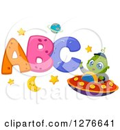 Clipart Of A Happy Cute Alien Boy Waving And Flying A UFO By Abc Royalty Free Vector Illustration