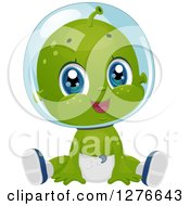 Clipart Of A Cute Baby Boy Alien Sitting In A Diaper Royalty Free Vector Illustration