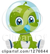 Clipart Of A Cute Baby Boy Alien Sucking On A Pacifier And Sitting In A Diaper Royalty Free Vector Illustration