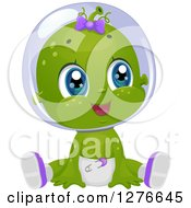 Clipart Of A Cute Baby Girl Alien Sitting In A Diaper Royalty Free Vector Illustration