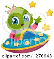 Clipart Of A Happy Cute Alien Girl Waving And Flying A UFO Royalty Free Vector Illustration