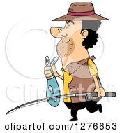 Clipart Of A Happy Cartoon Fisherman Carring A Pole And Fish Royalty Free Vector Illustration by BNP Design Studio