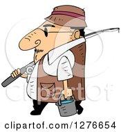 Cartoon Short White Man Walking In Profile With Fishing Gear