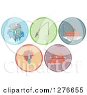 Clipart Of Fishing And Angling Icons Royalty Free Vector Illustration