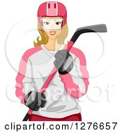 Clipart Of A Blond White Female Hockey Player Holding A Stick Royalty Free Vector Illustration by BNP Design Studio