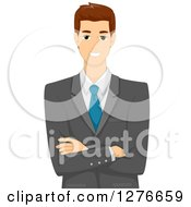Clipart Of A Happy Brunette White Businessman Standing With Folded Arms Royalty Free Vector Illustration