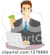 Clipart Of A Brunette White Businessman Holding Cash Wearing A Headset And Working On A Laptop Royalty Free Vector Illustration