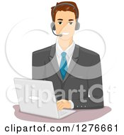Clipart Of A Brunette White Businessman Wearing A Headset And Using A Laptop Computer Royalty Free Vector Illustration