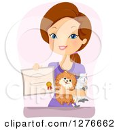 Clipart Of A Proud Brunette White Woman Holding Pets And A Certificate Royalty Free Vector Illustration