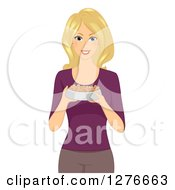 Clipart Of A Blond White Woman Holding A Bowl Of Dog Biscuits Royalty Free Vector Illustration