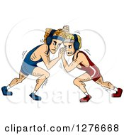 Clipart Of White Male Wrestlers Grappling Royalty Free Vector Illustration