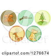 Clipart Of Hunting Icons Royalty Free Vector Illustration