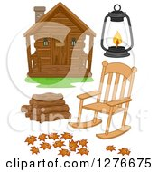 Clipart Of A Log Cabin Rocking Chair Lantern Logs And Fallen Leaves Royalty Free Vector Illustration