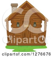Clipart Of A Wooden Cabin Royalty Free Vector Illustration