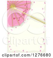 Clipart Of A Pink Asian Parasol With Cherry Blossom Petals And Text Space Royalty Free Vector Illustration by BNP Design Studio