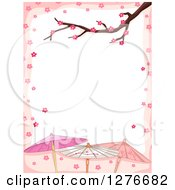 Clipart Of A Branch And Cherry Blossoms Bordering White Text Space With Japanese Umbrellas Royalty Free Vector Illustration by BNP Design Studio