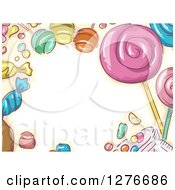 Clipart Of A Sketched Candy Border Around Text Space Royalty Free Vector Illustration