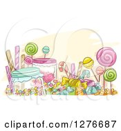 Clipart Of A Sketch Of Colorful Candies Royalty Free Vector Illustration by BNP Design Studio