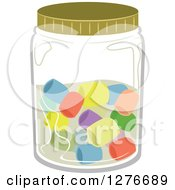 Clipart Of A Jar With Colorful Candies Royalty Free Vector Illustration