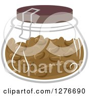 Clipart Of A Jar Of Brown Jelly Beans Royalty Free Vector Illustration