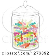 Clipart Of A Jar Full Of Colorful Wrapped Candy Royalty Free Vector Illustration