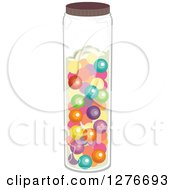 Clipart Of A Jar Full Of Colorful Gum Balls Royalty Free Vector Illustration