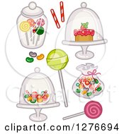 Clipart Of Sweets And Candy In Jars And Bags Royalty Free Vector Illustration