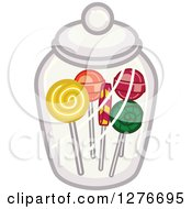 Clipart Of Lolipops In A Candy Jar Royalty Free Vector Illustration