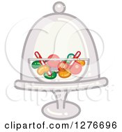 Clipart Of A Bowl Of Candy In A Stand And Dome Royalty Free Vector Illustration