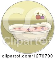 Clipart Of A Bath Tub With Flowers And Candles Royalty Free Vector Illustration by BNP Design Studio