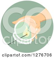Clipart Of A Hand Holding A Ventosa Massage Cup In A Green Circle Royalty Free Vector Illustration