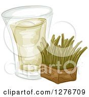 Clipart Of A Shot Of Wheat Grass And A Block Royalty Free Vector Illustration