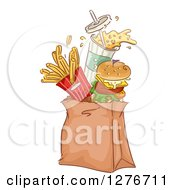 Clipart Of A Cheeseburger Soda And French Fries Jumping Out Of A Takeout Paper Bag Royalty Free Vector Illustration