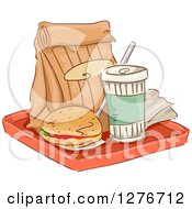 Clipart Of A Tray With A Bag Soda And Cheeseburger Royalty Free Vector Illustration by BNP Design Studio